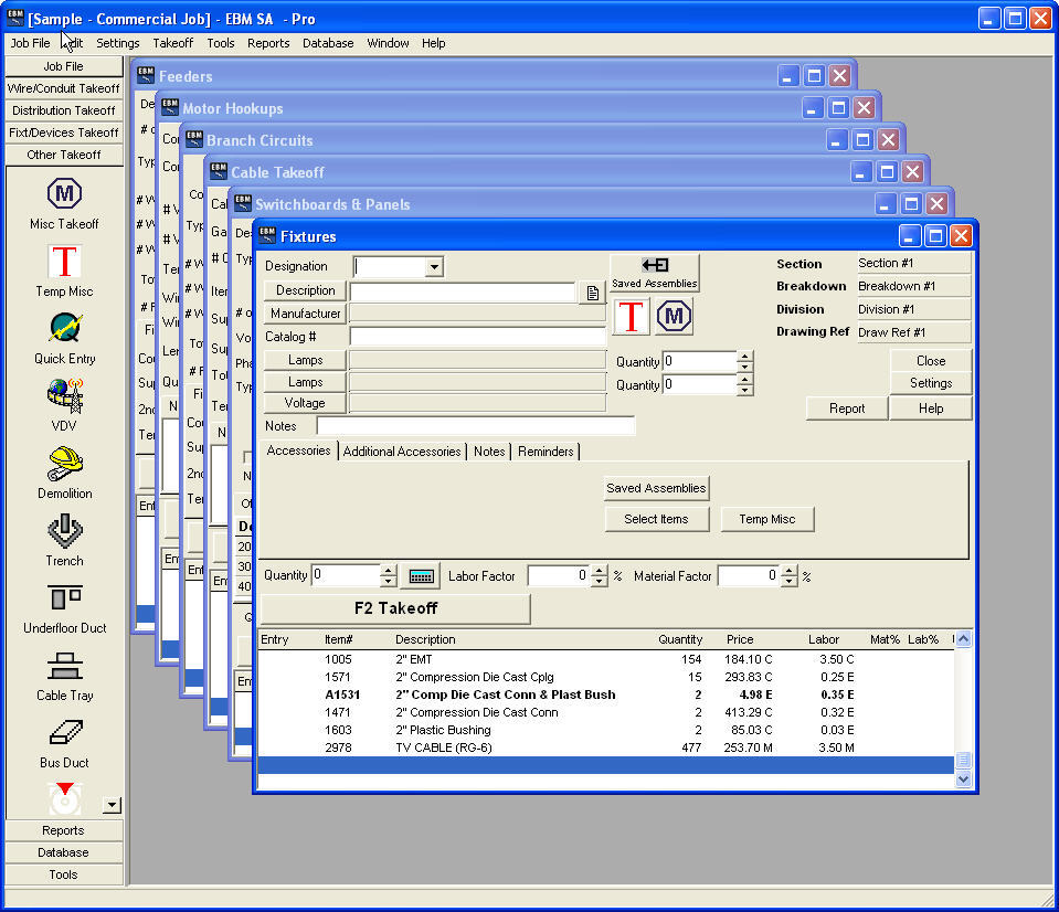 Electrical Estimating Software Screenshots