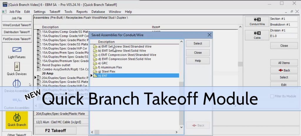 Electrical Estimating - Quick Branch Takeoff Module